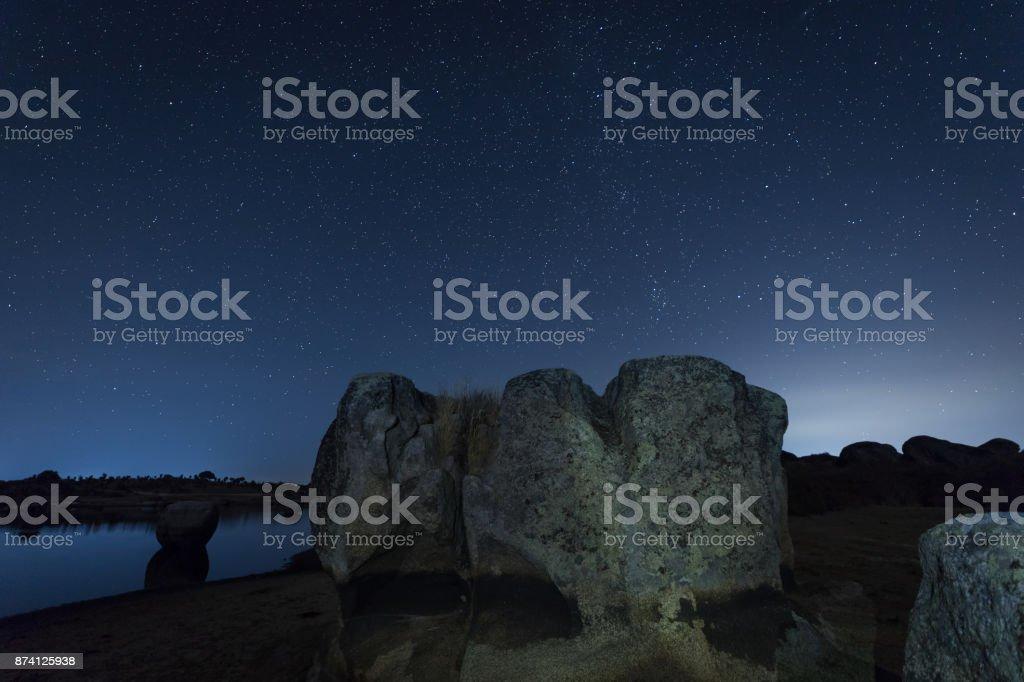 Night photography in the Barruecos stock photo