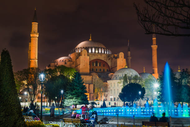 Night Photography of Hagia Sophia, Istanbul, Turkey stock photo