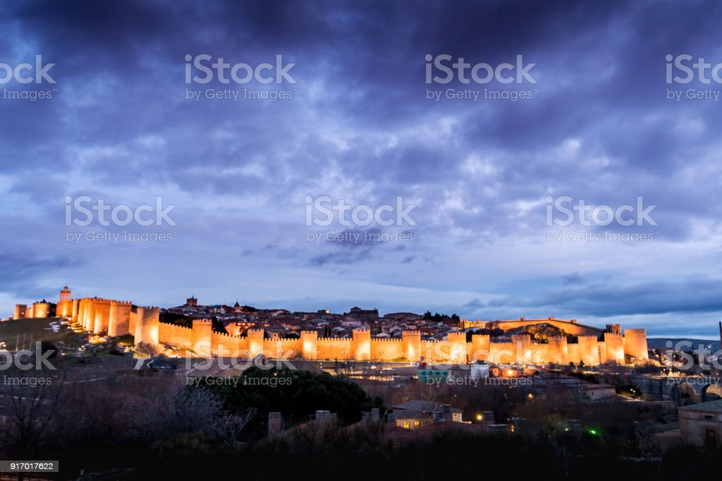 Night photography of the walls of Avila (Spain) stock photo