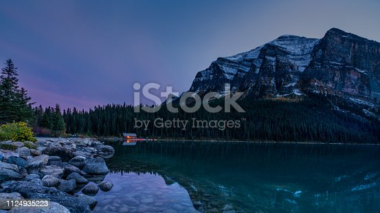 istock night photography of water reflection of Lake Louise Banff national park 1124935223