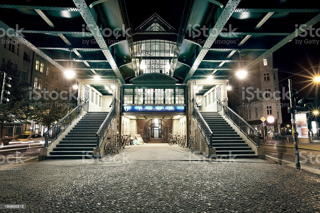 Night picture at Berlin Subway Station stock photo
