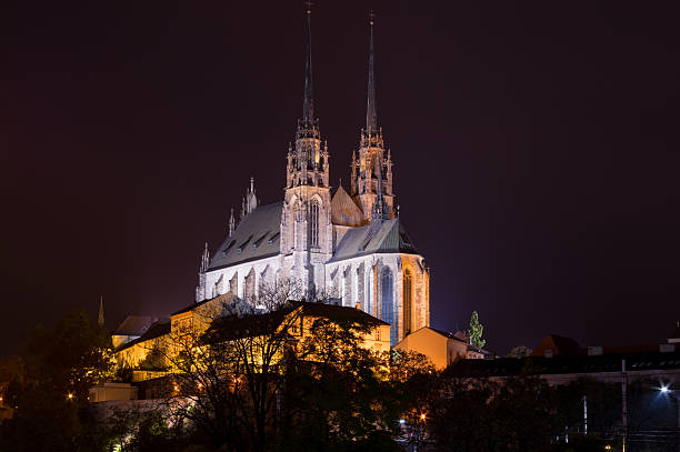 Night picture of Cathedral of St. Peter and Paul, Brno stock photo
