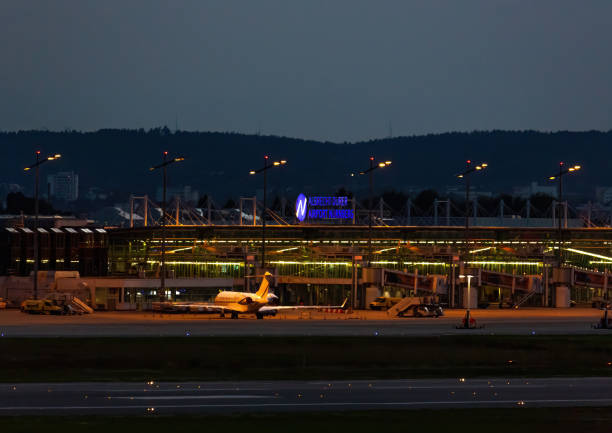 Night picture of the airport of Nuremberg in southern Germany stock photo