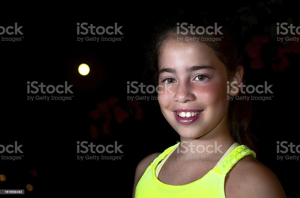 Night portrait of a teenage girl and the moon royalty-free stock photo
