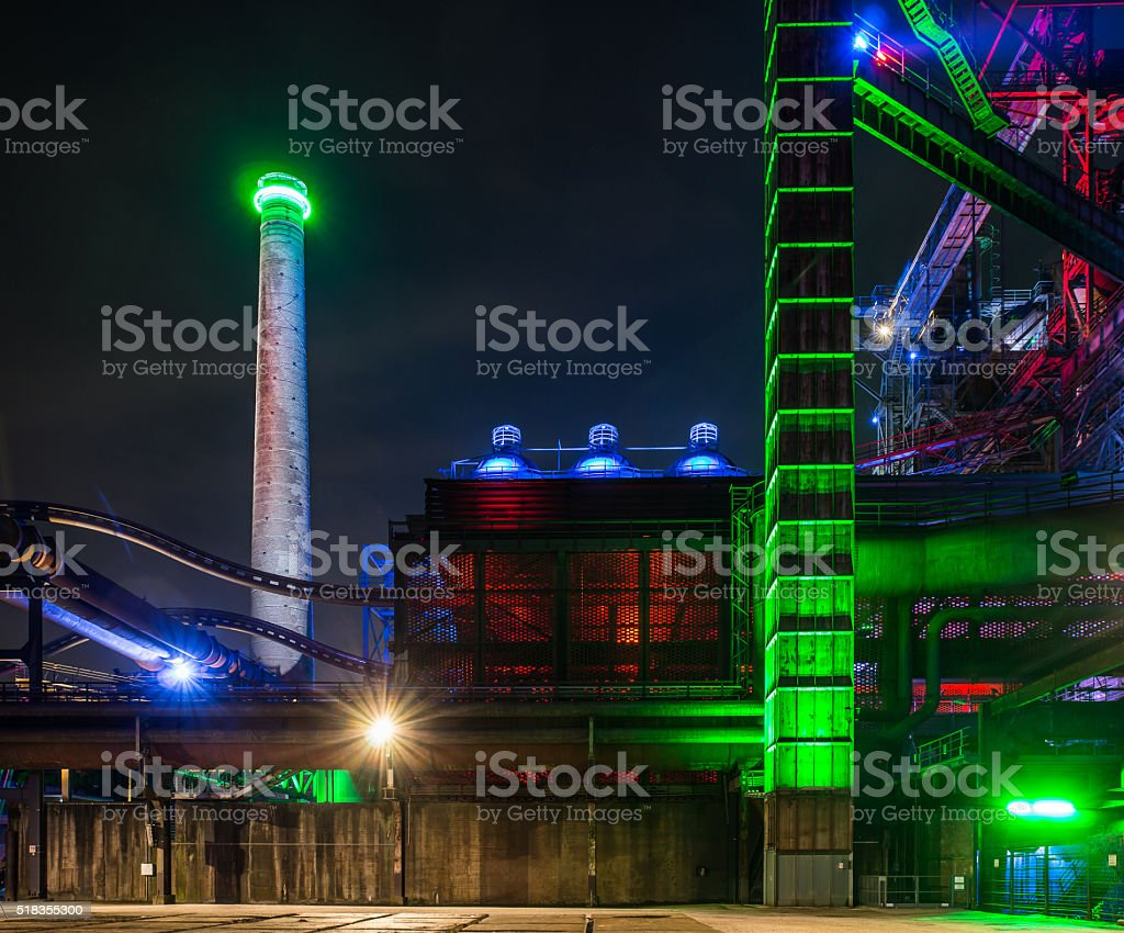 Night portrait of an factory plant stock photo