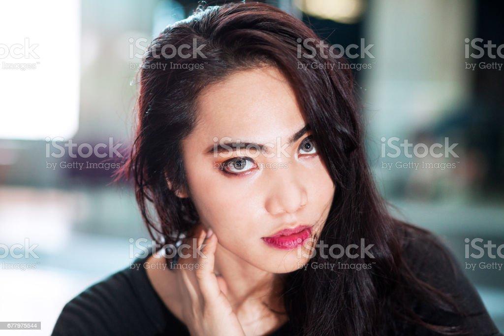 Night portrait of filippina transgender royalty-free stock photo