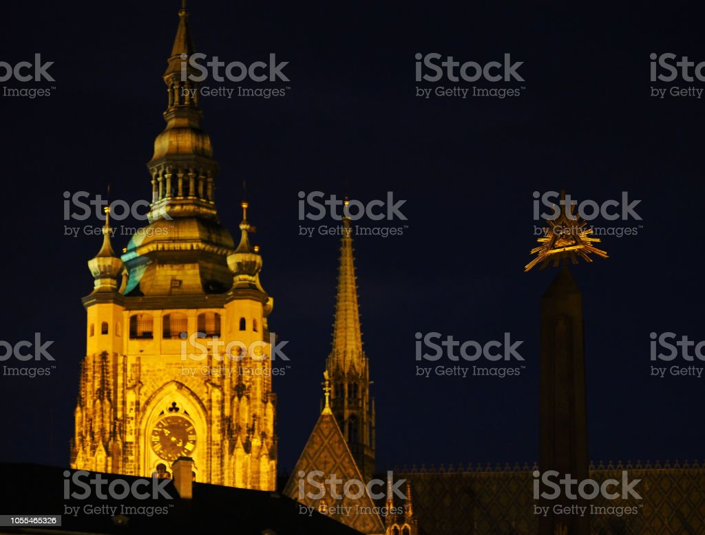 Night Prague, Czech Republic. Prague Castle, Holy Trinity Column,...