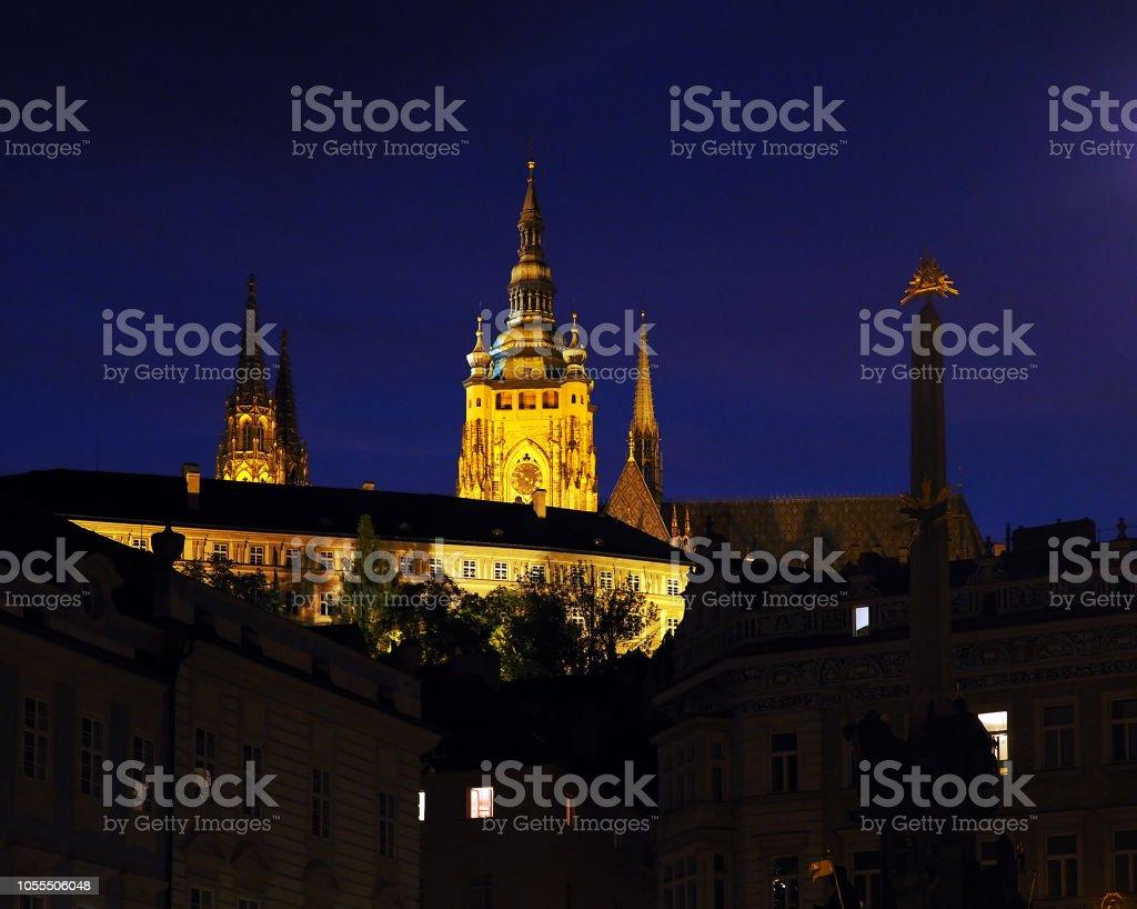 Night Prague, Czech Republic. Prague Castle, Holy Trinity Column, God...
