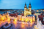 Night Prague - old town square.  Church of our lady before Tyn in the centre of composition.
