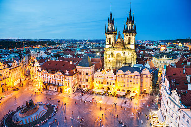 night prague - old town square - czech republic stock pictures, royalty-free photos & images