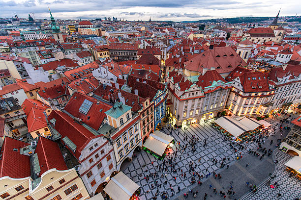 Night Prague - old town square Night Prague - old town square tyn church stock pictures, royalty-free photos & images