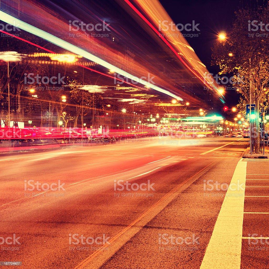 Night rail on the Barcelona traffic stock photo