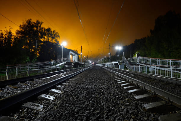Cтоковое фото night railway station