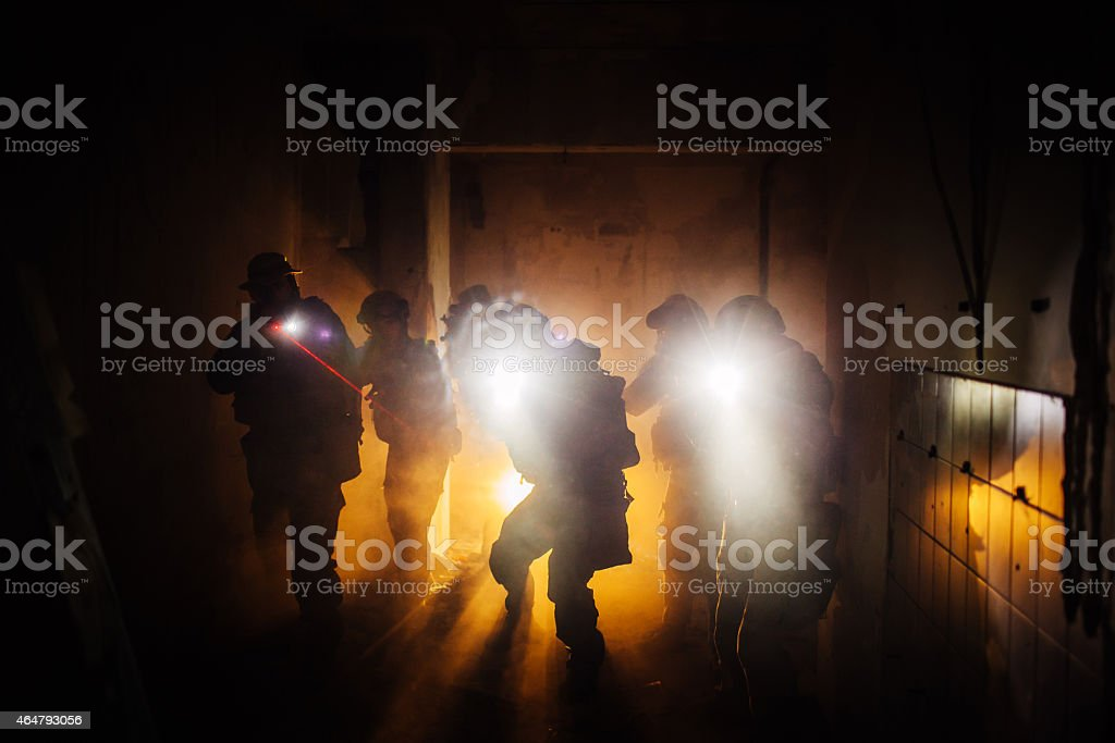 Night Ranger military operation command stock photo
