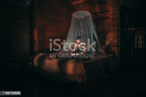 Man sitting on bed covered with mosquito net and reading