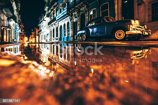 Wet streets reflections after rain.