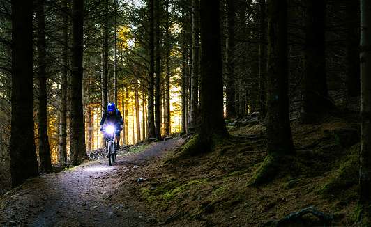 Night riding on a mountain bike track through forest