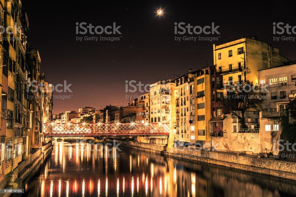 Night river in Girona stock photo