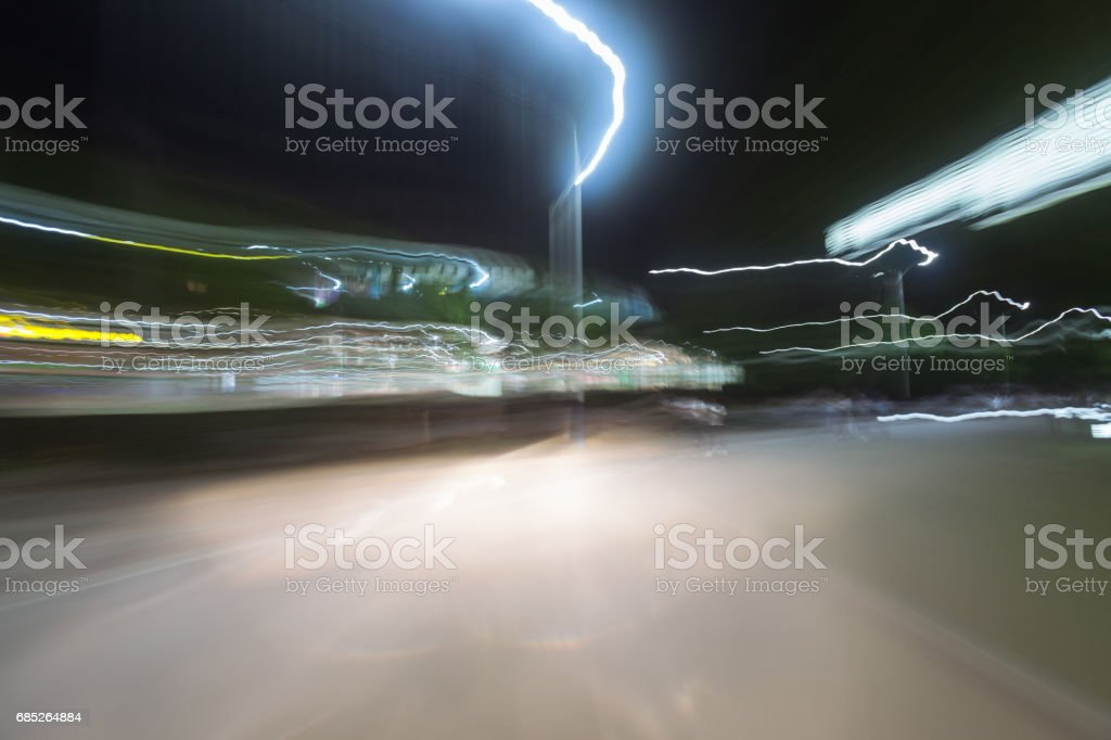 night road blur motion with lights royalty-free stock photo