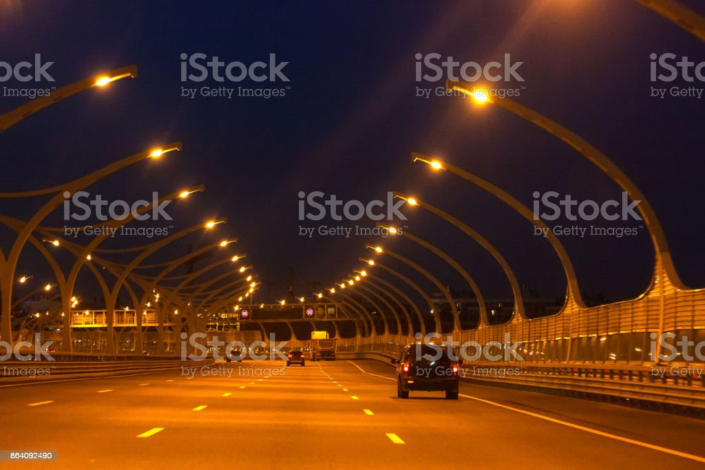 Night road with cars and lights in Saint-Petersburg royalty-free stock photo