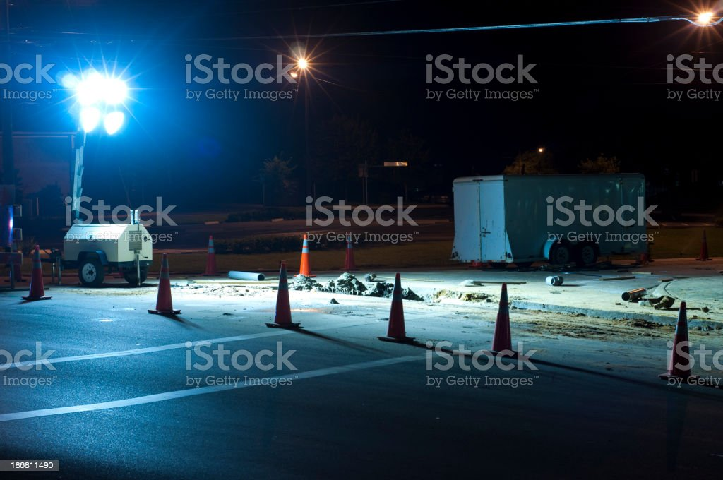 Night Roadwork - Blocked off with Traffic Cones royalty-free stock photo