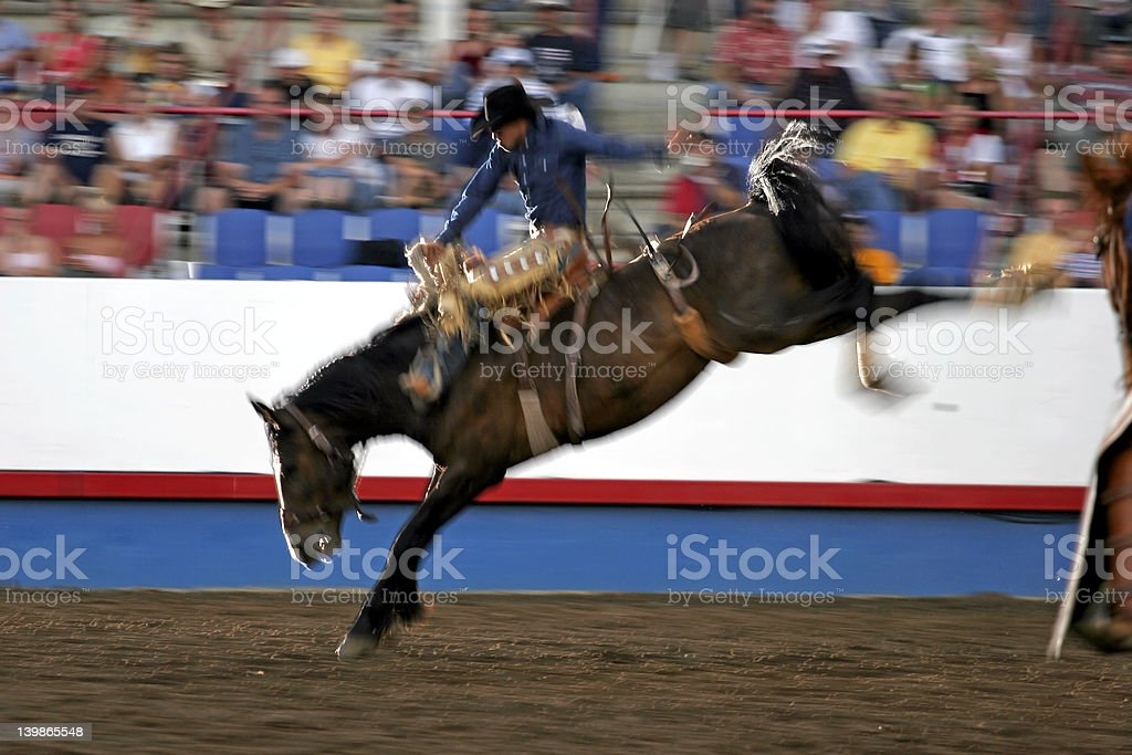 Night Rodeo Rider (Motion Blur Effect) stock photo