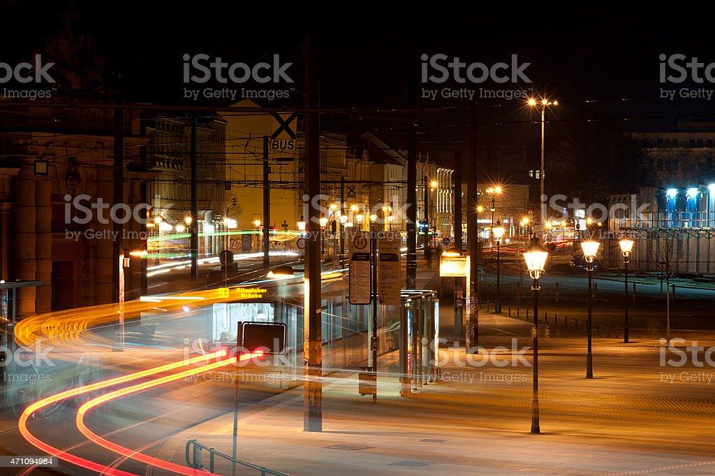 night rush in a city stock photo
