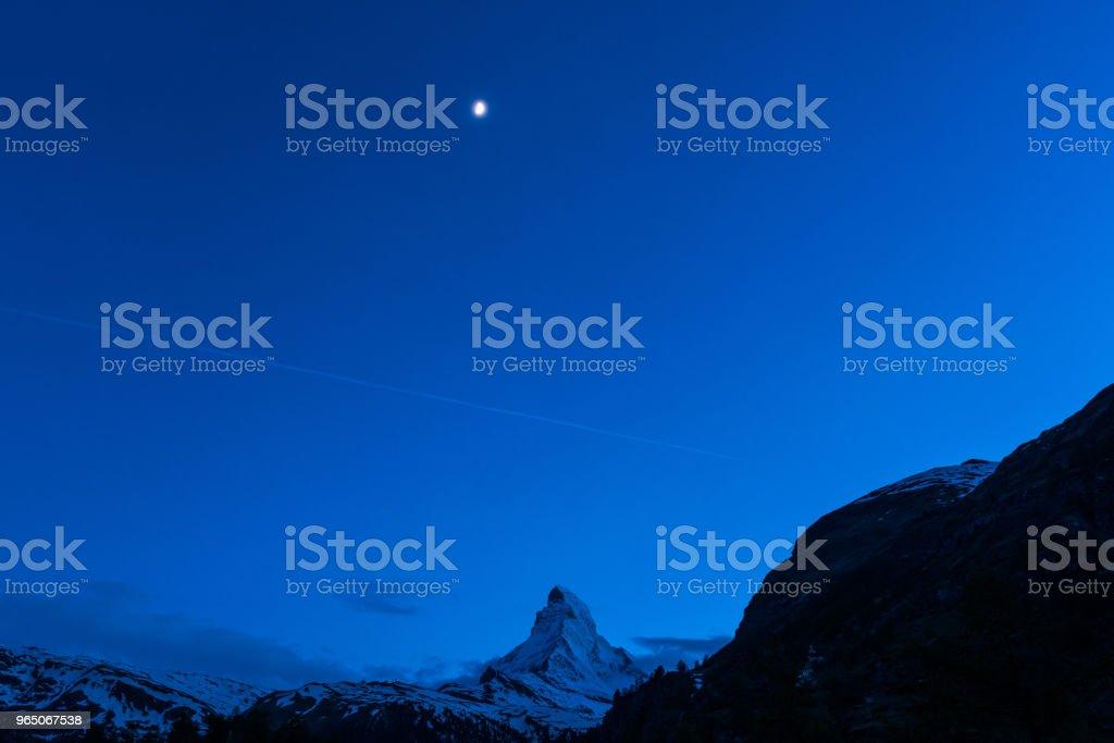 Night scape of Matterhorn mountain Switzerland Alps royalty-free stock photo