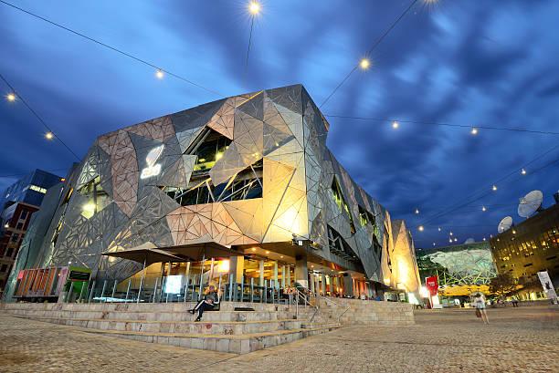 Night scene at Federation Square in Melbourne stock photo