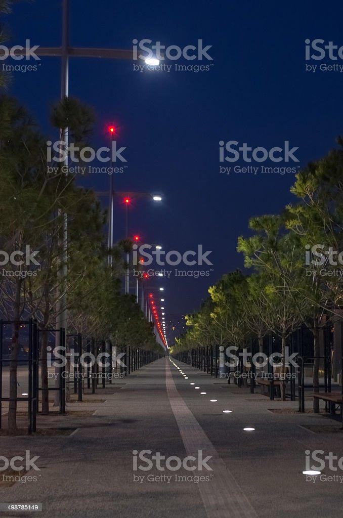 Night scene at the waterfront of Thessaloniki, Greece Night scene at the waterfront of Thessaloniki, Greece Aegean Sea Stock Photo