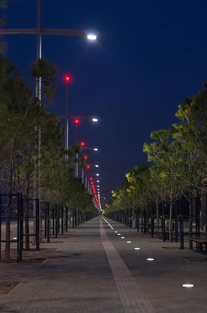 Night scene at the waterfront of Thessaloniki, Greece stock photo