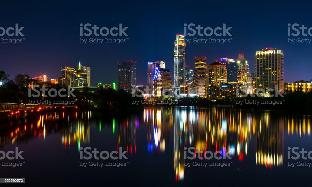 Night Scene Austin Texas Downtown Reflection off Colorado River stock photo
