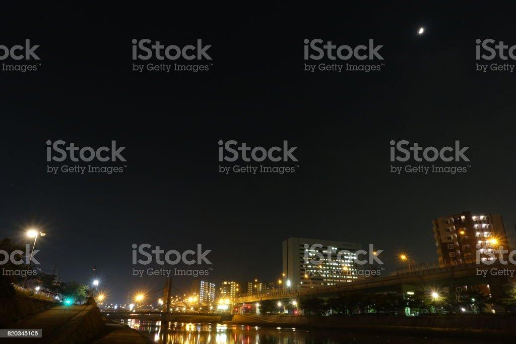 紫川の夜景。 ストックフォト