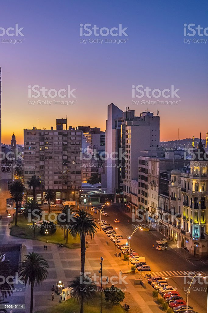 Night Scene Independence Square Montevideo Uruguay royalty-free stock photo