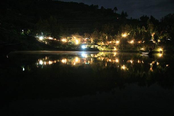 Night Scene - Lake Bunyoni, Kisori District, Uganda stock photo
