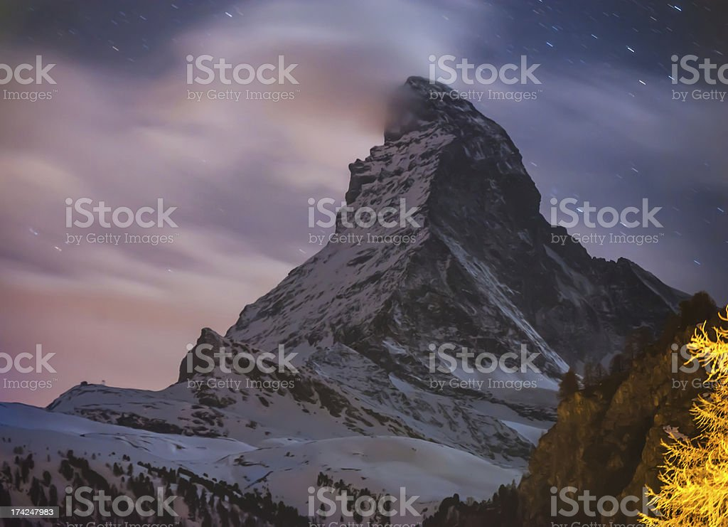Night Scene Matterhorn with stars royalty-free stock photo