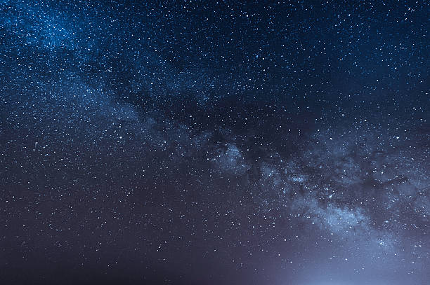 night scene milky way background - skies stock photos and pictures