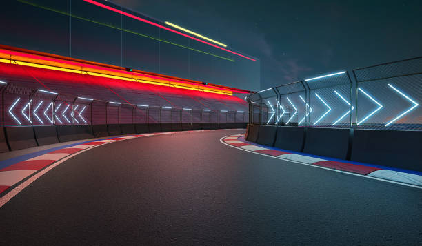 Night scene modern international race track stock photo