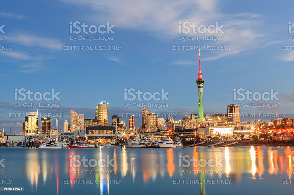 Auckland, New Zealand- December 9, 2013. Night scene of Auckland stock photo
