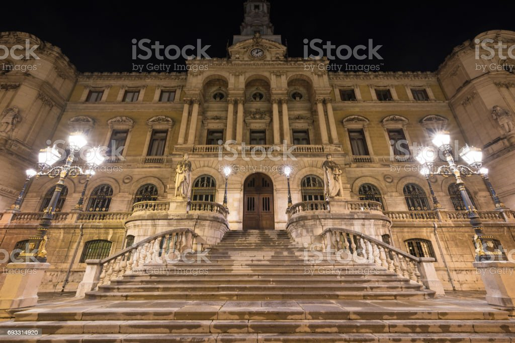 Night scene of Bilbao city hall building, Basque Country, Spain. stock photo