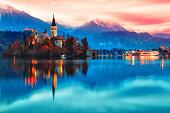 Night scene of Bled lake in Slovenia