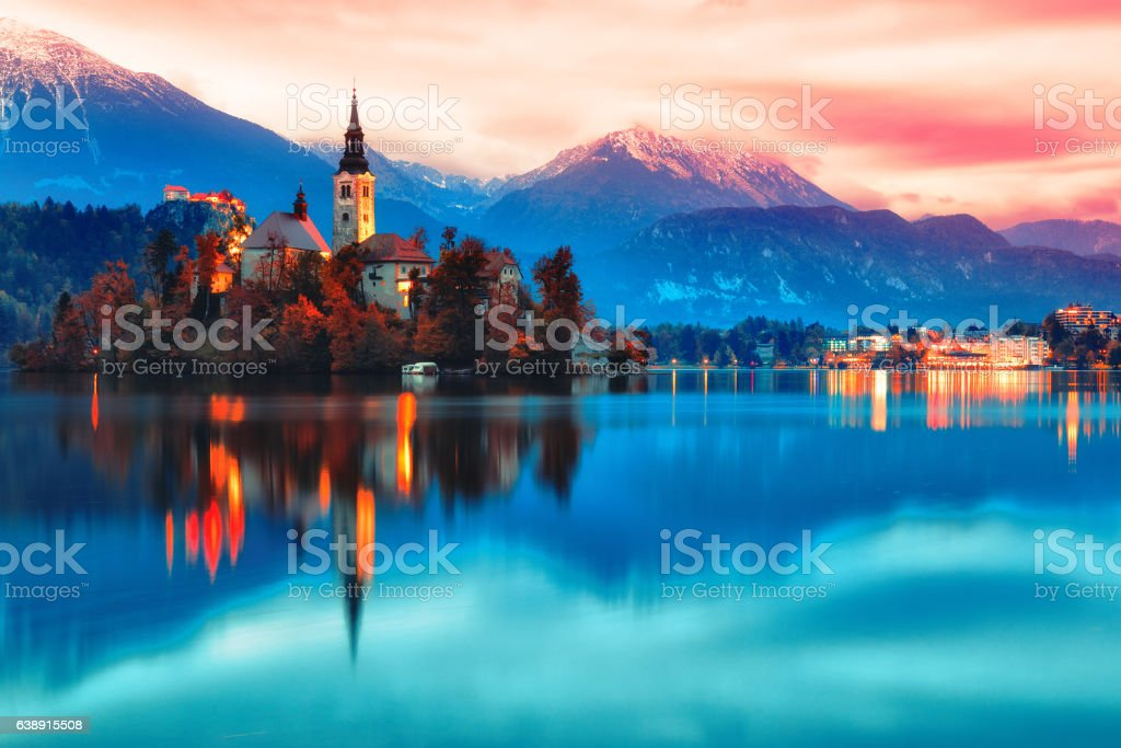 Night scene of Bled lake in Slovenia stock photo
