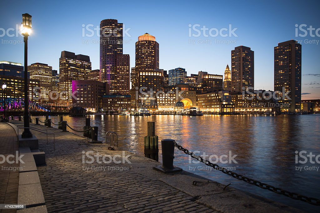 Night scene of Boston, Massachusetts downtown city skyline. stock photo