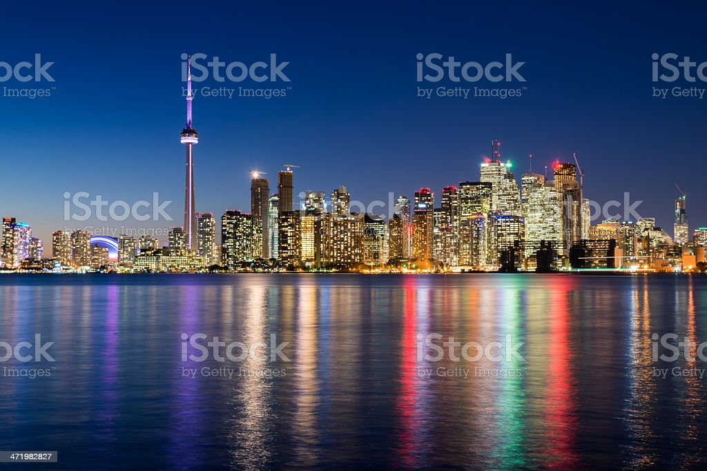 Night scene of downtown Toronto stock photo