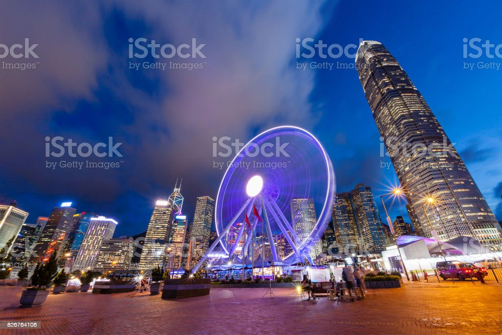 Night Scene of Hong Kong Cityscape at Central Pier stock photo