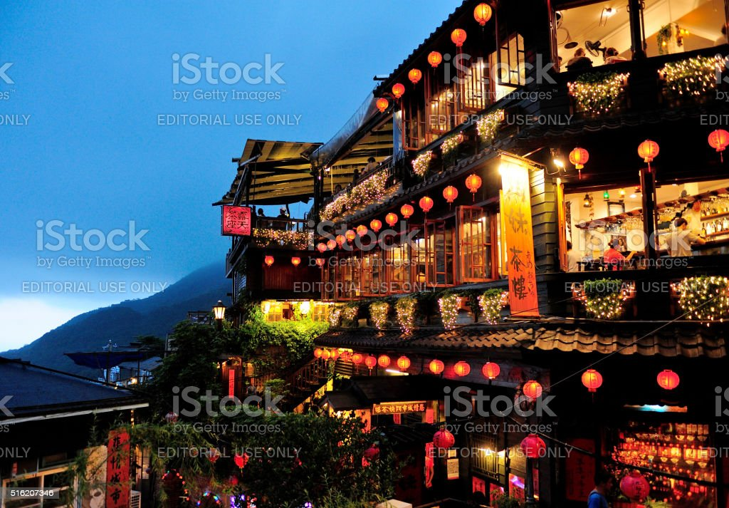 Night scene of Jioufen village in Taiwan Jioufen,Taiwan - Oct 1,2013:Night scene of Jioufen village in Taiwan,Jiufen, also spelled Jioufen or Chiufen, is a mountain area in the Ruifang District of New Taipei City near Keelung, Taiwan. Architecture Stock Photo