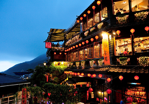 Night Scene Of Jioufen Village In Taiwan Stock Photo - Download Image Now