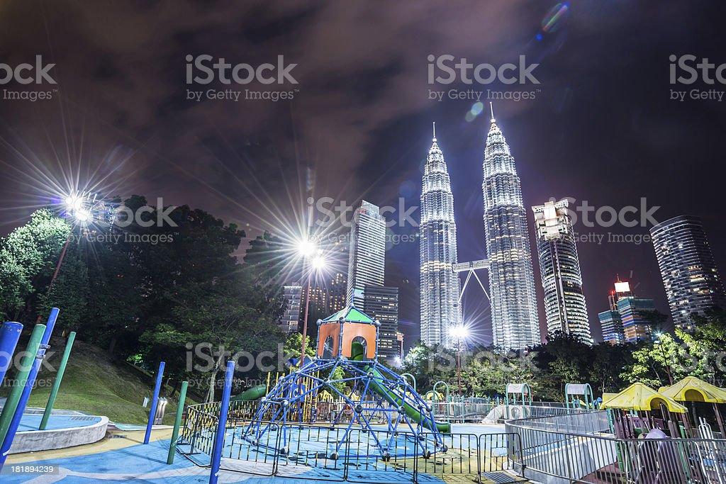 night scene of kuala lumper royalty-free stock photo