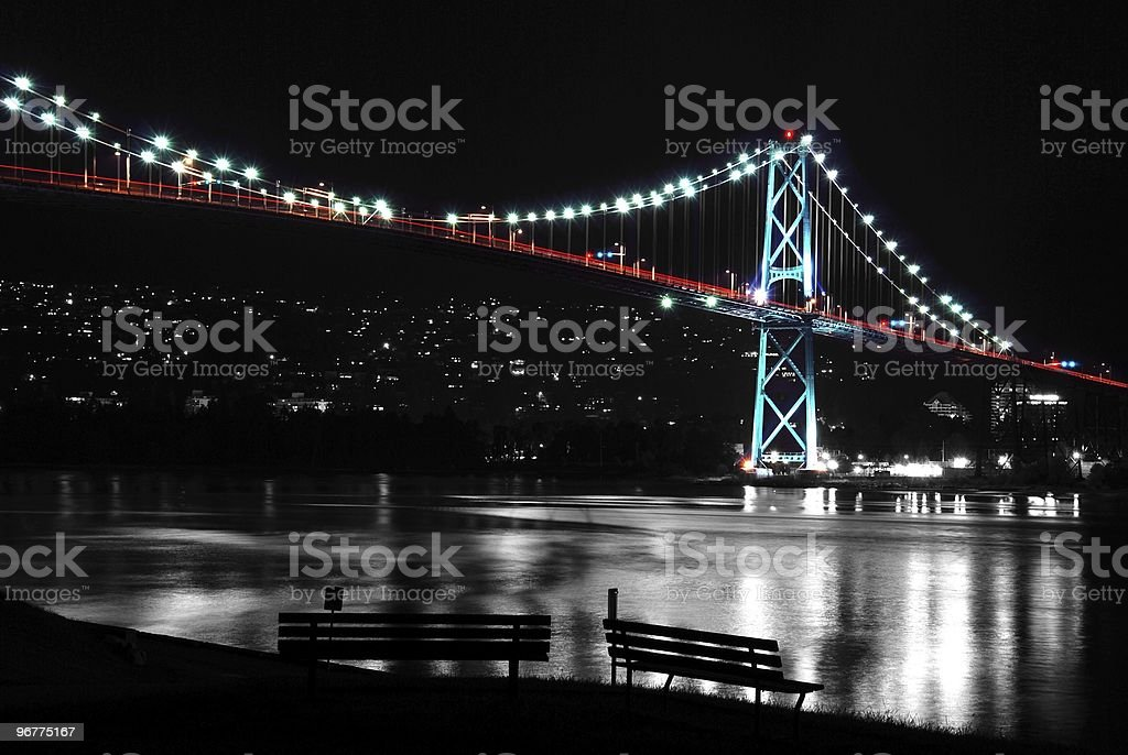 Night scene of Lions Gate in BC Canada. stock photo