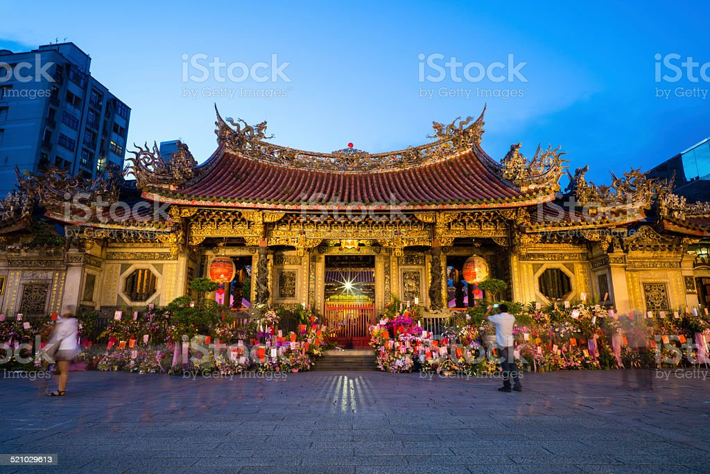 Night Scene of Longshan Temple stock photo
